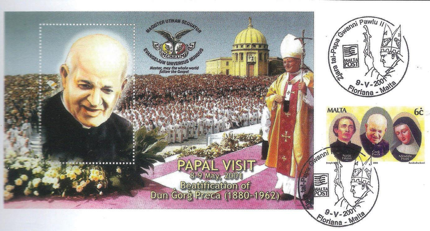 First day cover commemorating the papal visit of May 2001.
