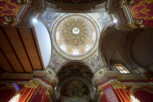 St Publius church in Floriana is prepared for the feast on April 7. The feast will be held on April 19. Photo: Matthew Mirabelli