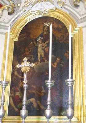 Our Lady of Liesse with Child, the angel and the sleeping knights, an 18th century oil painting by Enrico Arnaux at the church.