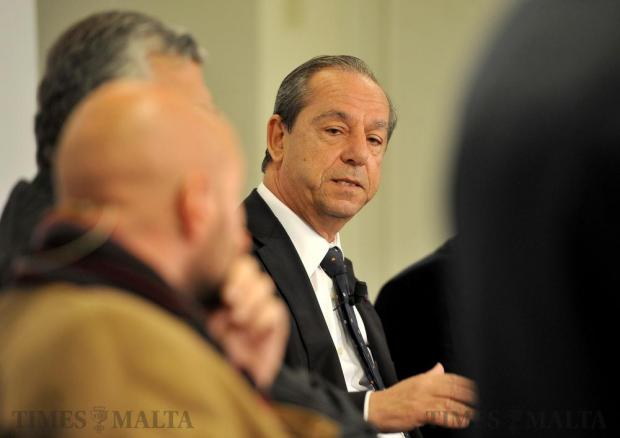 Former Prime Minister Lawrence Gonzi makes a point at the breakfast debate organized by the Times of Malta to discuss Brexit and Trump's election to power on November 30. Photo: Chris Sant Fournier