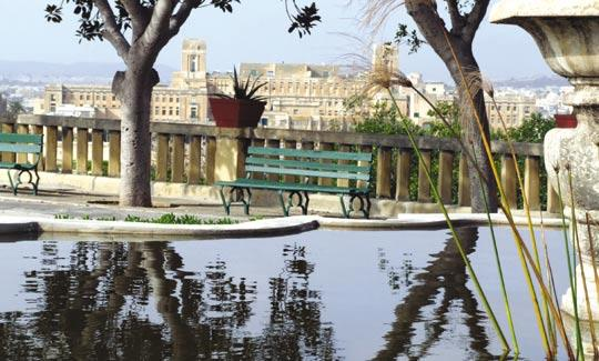 The splendid view from the Argotti Gardens, in Floriana, with St Luke's Hospital in the background.