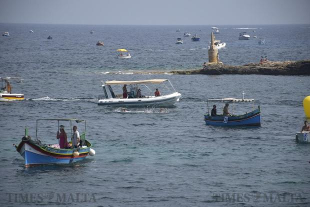 Several boats and dinghies accompany swimmers in the annual Malta-Gozo-Malta and Gozo-Malta swim on August 27. Photo: Mark Zammit Cordina