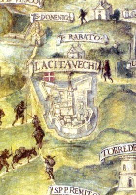 The medieval cathedral in Mdina. Detail from a fresco by Mattia Perez d'Aleccio at the Palace, Valletta.