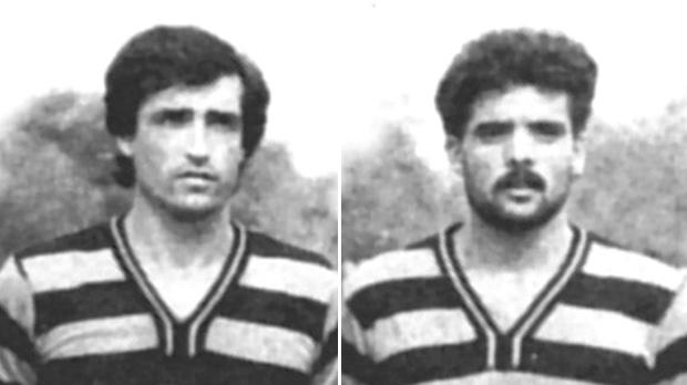 Raymond Xuereb (left) and Leo Refalo scored the goals that gave Ħamrun their first-ever FA Trophy victory in 1983. The Spartans beat Valletta 2-0 in the final.