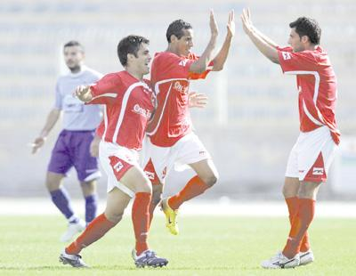 Mqabba players celebrate their victory over Sliema Wanderers, their first and only win in the Premier League so far this season.