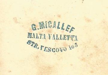 The back of the photo by G. Micallef of Salvatore Luigi Pisani, which must have been taken in late 1844 or early 1845 upon his entry to University.