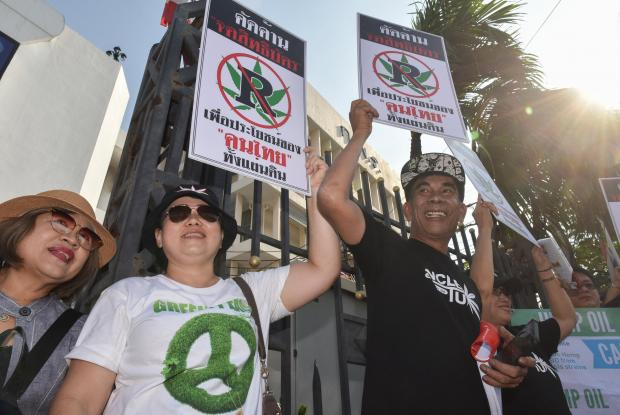 Thai activists who use marijuana therapy held placards as they gathered during a campaign for the legalisation of medical marijuana near Government House in Bangkok earlier in December.