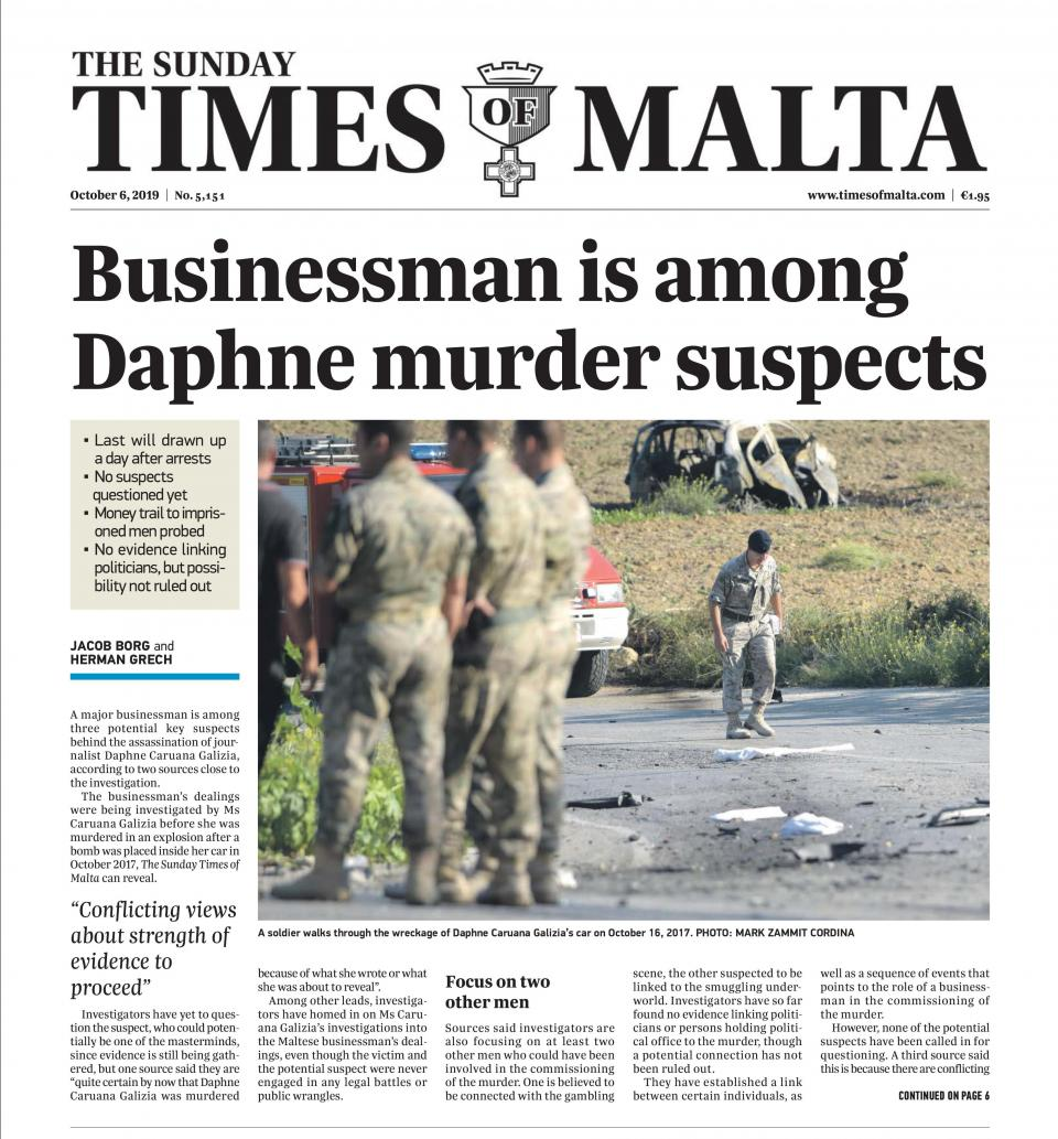 The October 6 edition of The Sunday Times which linked the 'businessman' to the murder.