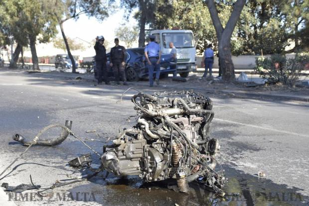 An engine of a Peugeot 607 in the road after 21-year-old man was involved in a car crash on 14 June in Mrieħel. Photo: Mark Zammit Cordina