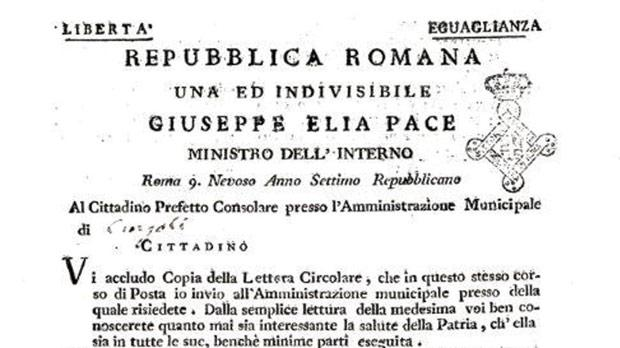 The notice published by the Istituto del Risorgimento, Rome, showing Pace as Minister for the Interior of the Roman Republic.