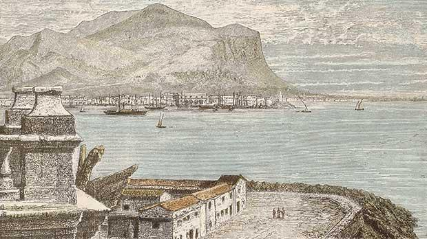 An old print shows a view of Palermo bay from Porta Felice roof terrace. The original engraving may be dated to the second half of the 19th century.
