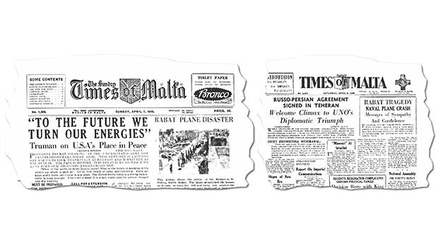 Cutings from the April 6 and 7, 1946, editions of The Sunday Times of Malta and Times of Malta reporting news of the tragedy.