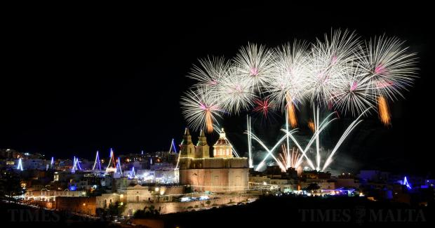 Fireworks light up Mellieha and the Church during the feast of our lady of Victory on September 07. Photo Mark Zammit Cordina