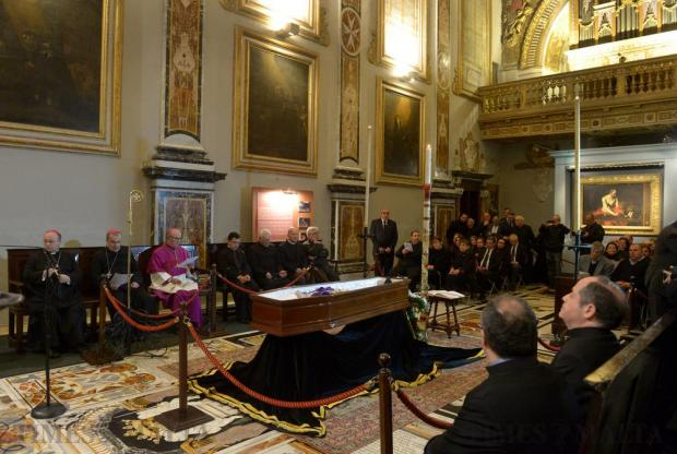 Former Archbishop Joseph Mercieca lies in state at St John's Co-Cathedral in Valletta on March 21. Photo: Matthew Mirabelli