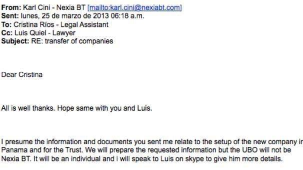 The e-mail from Nexia BT at the time when Egrant was set up.