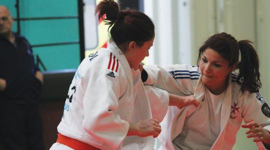 Marcon Bezzina (left) during her bout with Joanna Camilleri.