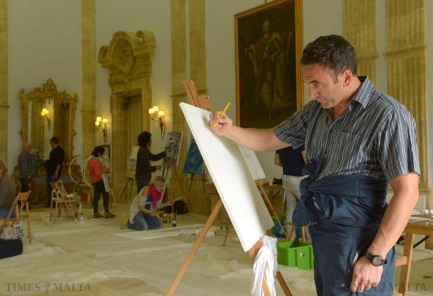 Artists from around the world participate in the UNESCO Art Camp at Verdala Palace in Rabat on October 27. Photo: Matthew Mirabelli