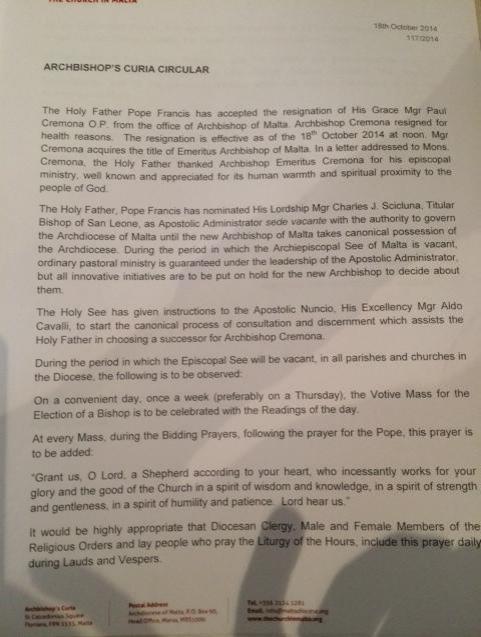 Curia statement on Archbishop's resignation