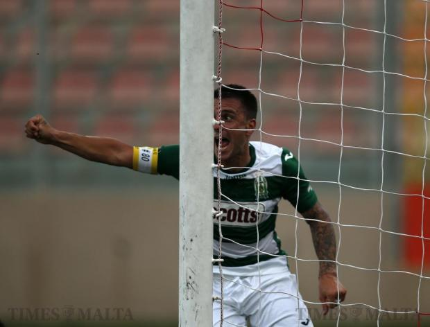 Floriana's Nicholas Chiesa celebrates scoring a goal against Mosta during their Premier League football match at the Tedesco Stadium in Hamrun on October 22. Photo: Darrin Zammit Lupi