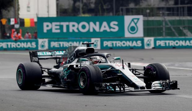 Mercedes' Lewis Hamilton in action during the race.