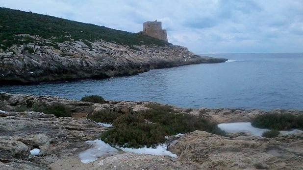 Hail in Xlendi, Gozo. Photo: Ramona Mercieca