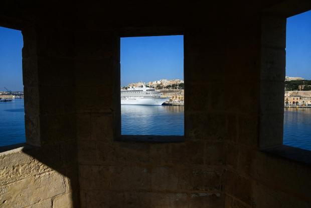 Originally built to serve as a military lookout, a gardjola (guard tower) perched on top of the Senglea bastions today serves as a tourist attraction, with the added bonus of the beautiful view of the Grand Harbour, on April 23. Photo: Jonathan Borg
