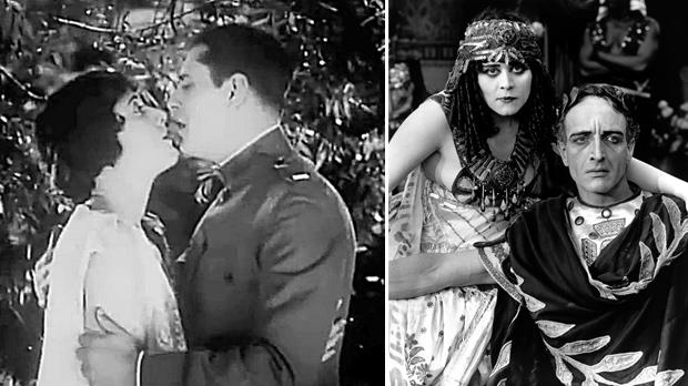 A scene from the lost 1926 silent film version of The Great Gatsby. Right: Theda Bara and Fritz Leiber in Cleopatra.