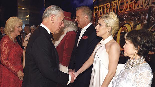 The Duchess of Cornwall and the Prince of Wales greeting Lady Gaga and other personalities following the Royal Variety Performance at London's Hammersmith Apollo. Photo: Niklas Halle'n/PA Wire