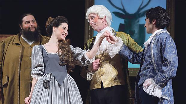 From left: Joe Depasquale as Tony Lumpkin, Tina Rizzo  as Kate Hardcastle, Stephen Oliver as Mr Hardcastle  and  André Agius as Charles Marlow in She Stoops to Conquer. Photo: Christine Muscat Azzopardi