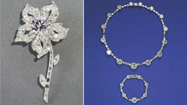The Williamson Brooch features a rare pink diamond. Right: The South Africa Necklace and Bracelet is a gift the queen received from the South African government for her 21st birthday.