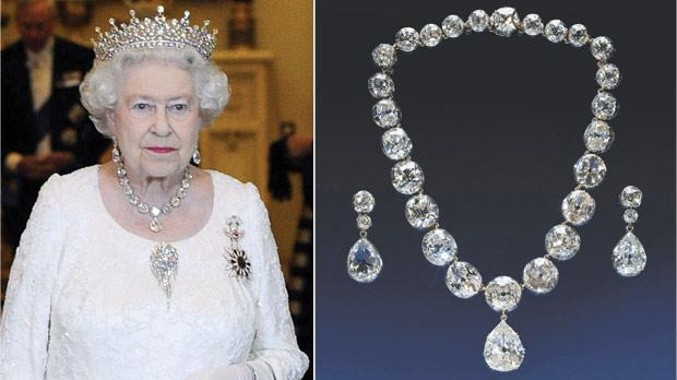Queen Elizabeth II wearing the Girls of Great Britain Tiara and the Coronation necklace and earrings. The monarch used the necklace – made up of 25 large diamonds and a drop-shaped pendant of 22.48 carats – for her coronation on June 2, 1963 (right).