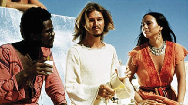 Ted Neeley (centre) as Jesus Christ, Carl Anderson as Judas and Yvonne Elliman as Mary Magdalene in the 1973 film Jesus Christ Superstar.