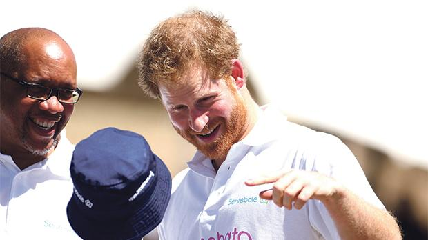 Prince Harry with Prince Seeiso of Lesotho outside the Sentebale Mamohato childrens centre in Thaba Bosiu, Lesotho. Photo: Chris Radburn/PA Wire