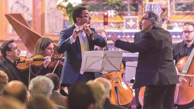 Colin Attard directing the Gaulitana String Orchestra in three popular works at St Francis church in Victoria.