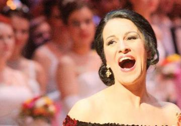 Angela Gheorghiu singing at the event's opening.