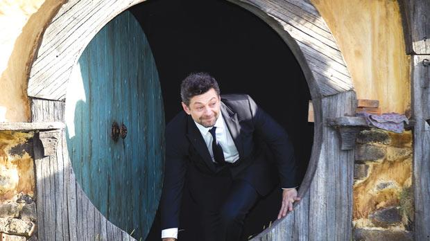 Actor Andy Serkis, who plays the part of the Gollum,walking on to the stage.