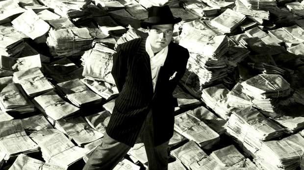 Orson Welles as newspaper magnate Charles Foster Kane in an iconic scene from the masterpiece Citizen Kane.