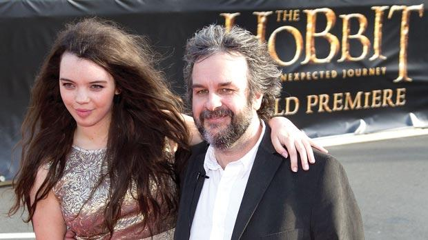 Director Peter Jackson with his daughter Katie at the premiere.