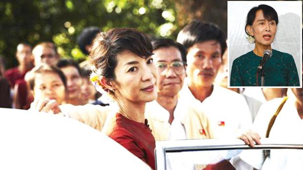 Michelle Yeoh is almost a split image of pro-democracy leader Aung San Suu Kyi (inset).