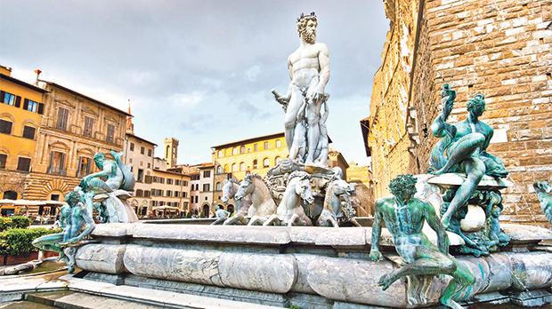 The famous fountain of Neptune in Piazza della Signoria, Florence. The 'How to Behave' campaign is aimed to respect landmarks around the city.