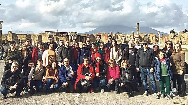 The Erasmusplus mobility programme participants in Pompei.