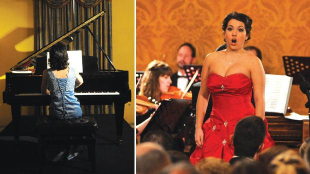 Joanne Camilleri performing during In Bach's Footsteps. Right: Nicola Said performing during Villains and Lovers at the President's Palace.