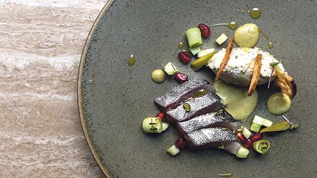 Cured mackerel, smoked mackerel pâté, pomegranate and cucumber dressing. Photo: Brian Grech