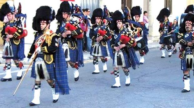 The local Wallace Pipes and Drums.