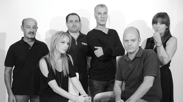 Manuel Cauchi, Julia Calvert, Michael Basmadjian, Alan Montanaro, Alan Paris and Denise Mulholland make up the cast of The Lockerbie Bomber. Photo: Rene Rossignaud