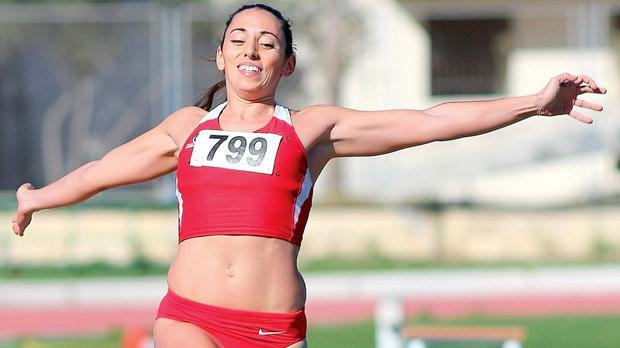 Rebecca Sarè during the long jump event at Marsa. Photo: Wally Galea