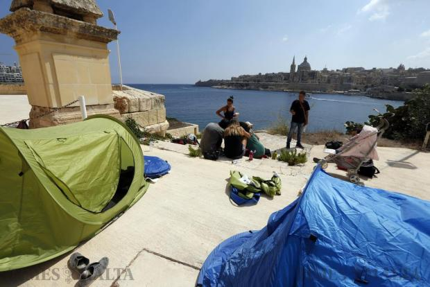 Activists of Kamp Emergenza Ambjent, a coalition of green groups, set up their tents on Manoel Island in Gzira on September 10. The activists entered an area of the island that had been blocked off for 16 years by Midi, a company with a concession on the island. Photo: Darrin Zammit Lupi