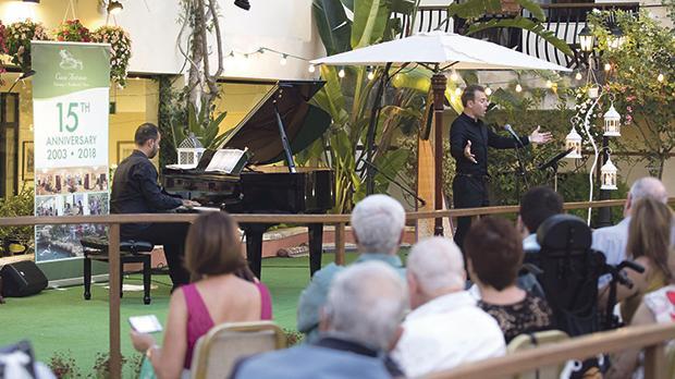 Tenor Nico Darmanin accompanied on the piano by Leonardo Barilaro during the musical evening at Casa Antonia