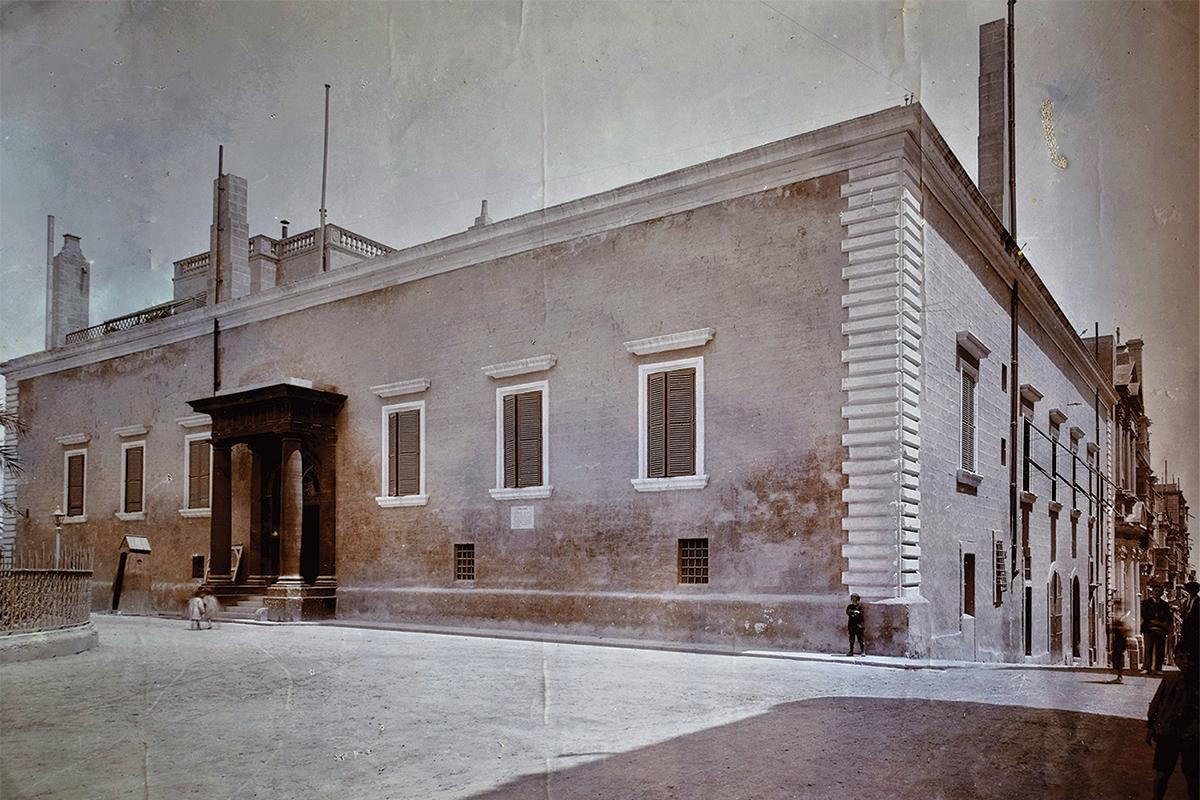 The Auberge D'Aragon, Valletta, when it was painted in two shades of red.