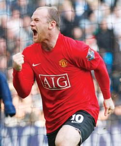 Wayne Rooney celebrates his goal against Manchester City.